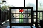 ◎△お急ぎ便不可△ ステンドグラス 赤のチューリップ オレンジ イギリスアンティーク 1/3