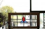 ◎△お急ぎ便不可△ ステンドグラス 赤 青 クリアガラス イギリスアンティーク