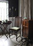 ◎△お急ぎ便不可△ グリーンの座面が素敵なオークハイバックチェア 書斎椅子 イギリスアンティーク家具 ef0001
