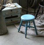 ◎△お急ぎ便不可△ アンティークスツール 水色 イギリスアンティーク家具 椅子