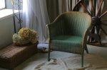 ◎△お急ぎ便不可△ グリーンのタグ付きロイドルームチェア イギリスアンティーク家具 椅子