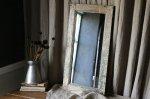 ◎△お急ぎ便不可△ イギリスアンティーク雑貨 シャビーシックな木製ペイントミラー(鏡) 長辺66.5