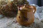 ◎△お急ぎ便不可△ 蜂蜜のような色と花模様の南仏のポット 黄色 陶器 雑貨 フランスアンティーク