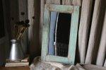 ◎△お急ぎ便不可△ イギリスアンティーク雑貨 木製ミラー(鏡) ブルーグレーペイント 長辺50.5cm
