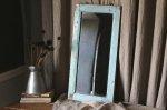 ◎△お急ぎ便不可△ イギリスアンティーク家具 木製ミラー(鏡) ブルーグレーペイント 長辺61cm