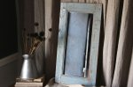 ◎△お急ぎ便不可△ イギリスアンティーク家具 木製ミラー(鏡) ブルーグレーペイント 長辺59cm