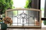◎△お急ぎ便不可△ 横長の大きいステンドグラス 幾何学模様 無色 イギリスアンティーク