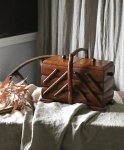 ◎△お急ぎ便不可△ ダークカラーの木肌が美しいソーイングボックス イギリスアンティーク家具 eo141005