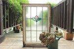 ◎△お急ぎ便不可△ ステンドグラス ピンク 緑の花模様 大きいサイズ イギリスアンティーク