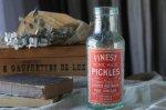 ◎△お急ぎ便不可△ 赤いラベルが可愛いピクルスボトル イギリスアンティークガラス雑貨