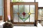 ◎△お急ぎ便不可△ ステンドグラス 黄色、青色、赤色、緑色の幾何学模様 イギリスアンティーク
