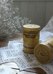 ◎△お急ぎ便不可△ ロゴが素敵な黄色のアンティークTin缶 フランスアンティーク雑貨 fo161048・50