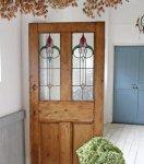 ◎△お急ぎ便不可△ ステンドグラス入りドア(扉) オールドパイン イギリスアンティーク家具