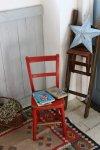 ◎△お急ぎ便不可△ イギリスアンティーク 赤色のチャイルドチェア 子供用椅子 家具