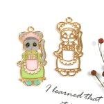 【空枠】ロリータねずみ《きれいめゴールド》[マウス,ネズミ,動物,ゴスロリ,ファッション,ふりふり,レジン枠,フレーム]