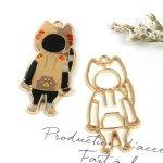 ♪【空枠】パーカーねこ《きれいめゴールド》[ネコ,猫,キャット,動物,アニマル,animal,レジン枠,空枠,フレーム]