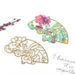 ◎【メタルチャーム】扇 花と流水《ゴールド》[和風,日本,扇子,空枠,薄い,透かし,フラワー,花]