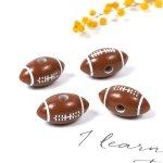 【ビーズ】4個 ラグビーボール《ブラウン×ホワイト》[アメリカンフットボール,アメフト,スポーツ,部活,応援,丸,アクリル]