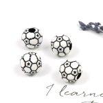 【ビーズ】4個 サッカーボール《ホワイト×ブラック》[部活,蹴球,スポーツ,試合,応援,ワールドカップ,運動]