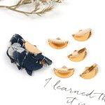 【基本金具】5個 半円リボン止め《きれいめゴールド》[りぼん留め,止め,レース留め,ワニグチ,アクセサリー,金具,留め具,手芸,パーツ]