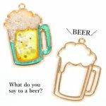 【空枠】ビールジョッキ《きれいめゴールド》[フレーム,アルコール,夏,マリン,summer,食器,グラス,酒,雑貨,レジン枠]
