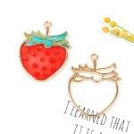 【空枠】いちご《きれいめゴールド》[ストロベリー,苺,果物,フルーツ,食べ物,イチゴ,レジン枠,フレーム,手芸]