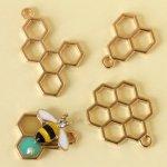 【空枠】3種 蜂の巣《きれいめゴールド》[ミツバチ,昆虫,立体,ハチ,レジン枠,フレーム,手芸,はちみつ]