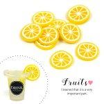 【デコパーツ】10個 スライスレモン ちょこっと大きめサイズ《イエロー》[輪切り,檸檬,れもん,果物,フルーツ,食べ物,貼,レジン,樹脂粘土,ネイル,カフェ,ミニチュア]