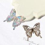 ◎【メタルチャーム】バタフライ D《きれいめゴールド》[ちょうちょ,チョウチョ,蝶々,昆虫,ミニ,薄い,透かし,手芸]
