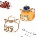【空枠】シルクハットにゃんこ《きれいめゴールド》[ねこ,ネコ,キャット,cat,帽子,フレーム,レジン枠,動物,animal,手芸]
