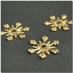 【ブラスチャーム】3個 雪の結晶 [ゆき,ユキ,冬,季節,スノーフレーク]