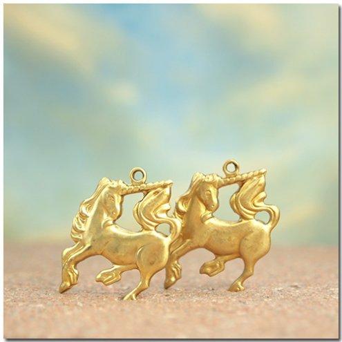【ブラスチャーム】2個 ユニコーン 《真鍮色》 [pair,ペガサス,馬,童話,絵本,架空,動物,animal]