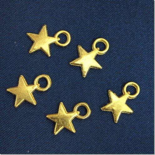 【チャーム】5個 ちいさな星 《ゴールド》 [ほし,ホシ,スター,,宇宙,夜空]◎