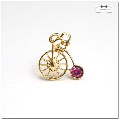 【チャーム】キラキラレトロ自転車 《きれいめゴールド×ピンク》◎