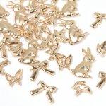 ◎【チャームセット】カートゥーンうさぎとリボンとバタフライと小鳥さんがいっぱい《きれいめゴールド》