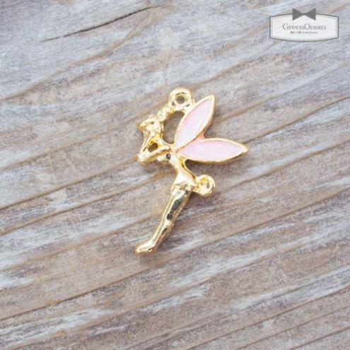 【チャーム】ティンカーベル 《きれいめゴールド×ピンク》 [妖精,ピーターパン,ようせい,童話]
