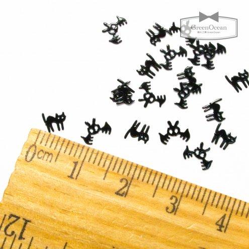 【ミニメタルパーツ】20個 黒猫とコウモリ 《ブラック》 [ハロウィン,夜,ホラー,魔女,ねこ,にゃんこ,ニャンコ,こうもり,蝙蝠,つめ,爪,ネイ…