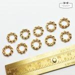 【コネクターフレーム】10個 サークルロープフープ11mm 《きれいめゴールド》 [つなげる,ジョイントパーツ,空枠,幾何学,リング,レジン枠,チャーム]
