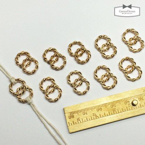 【コネクターフレーム】10個 サークルロープフープ11mm・2個つなぎ 《きれいめゴールド》 [つなげる,ジョイントパーツ,空枠,幾何学,リング,レジン枠