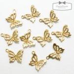【チャーム】10個 バタフライ  《きれいめゴールド》 [蝶,ちょうちょ,チョウチョ,昆虫,春]