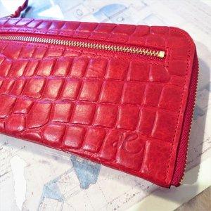 L型長財布(型押レッド)