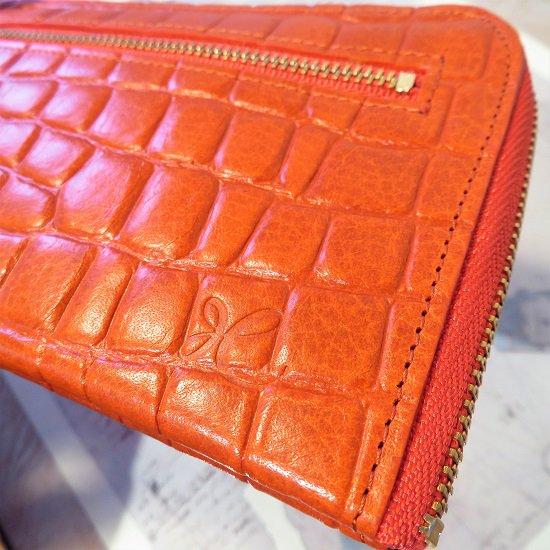 L型長財布(型押キャロットオレンジ)