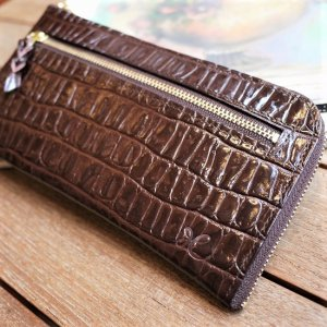 L型長財布(型押こげ茶)