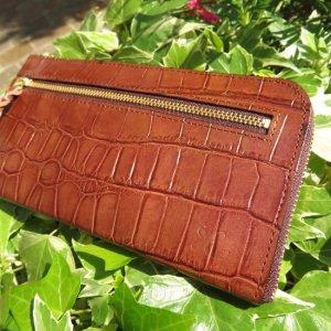 L型長財布(型押パールブラウン)