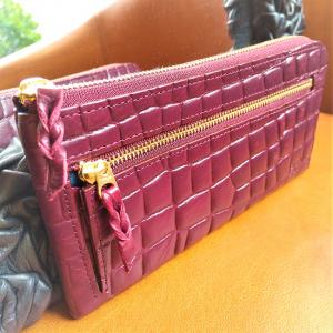 L型長財布(型押 濃い紫)