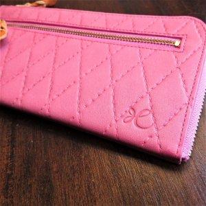 L型長財布 型押ピンク