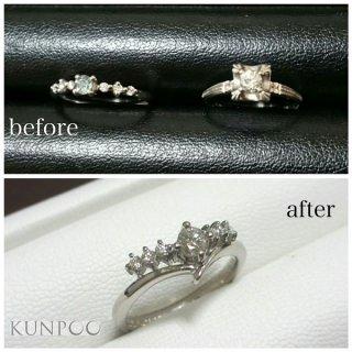 ジュエリーリフォーム例 ゆずり受けた大切なダイヤモンドリングを今風のデザインに