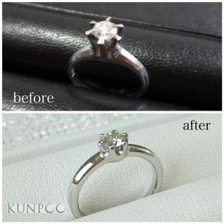 ジュエリーリフォーム例 高さのあるダイヤモンドリングを普段使いできるリングへ