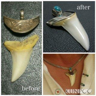 ジュエリーリフォーム例 サメの歯のネックレスをプラチナにクラスアップ