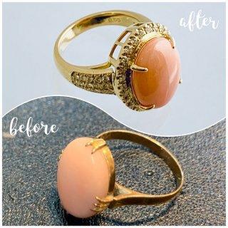 ジュエリーリフォーム例 稀少なピンク珊瑚の周りにメレダイヤを敷き詰めた18金リング
